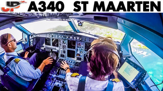 Fantastic Takeoff A340 from St Maarten   Cockpit Views
