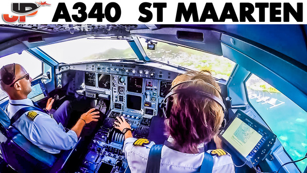 Fantastic Takeoff A340 from St Maarten | Cockpit Views