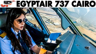 Piloting BOEING 737 out of Cairo   Cockpit Views