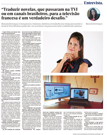 Entrevista Jornal A Terra Minhota