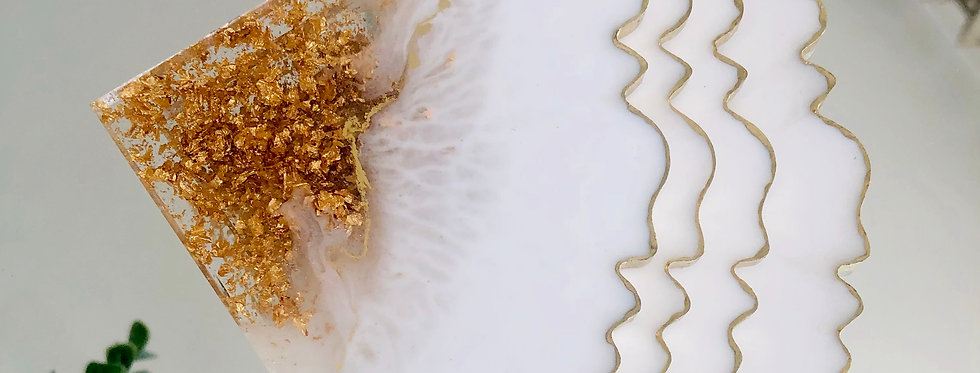 White Gold Leaf Resin Coaster