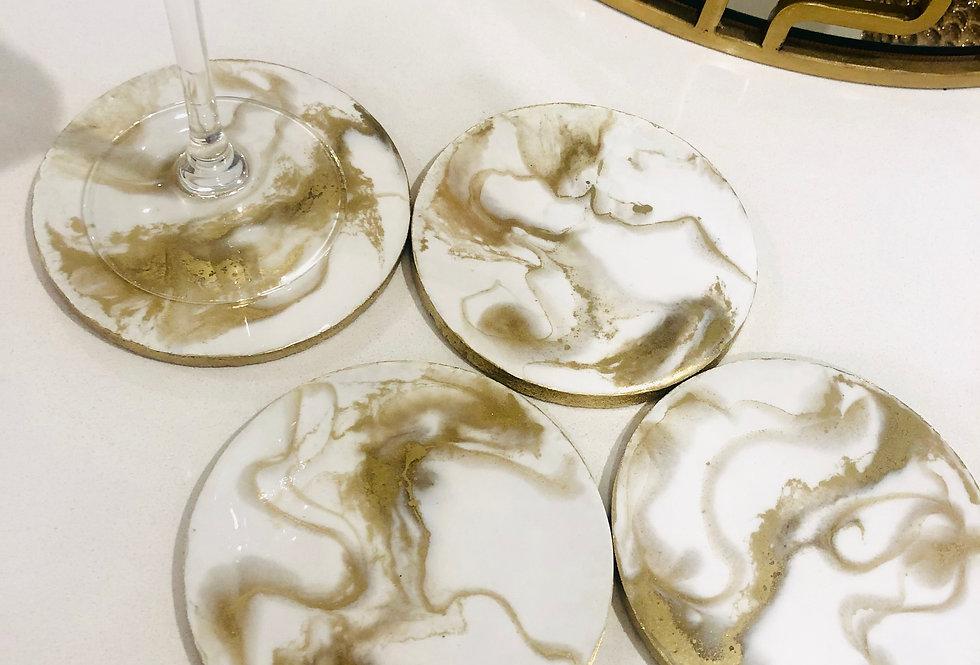White & Gold Resin Coasters