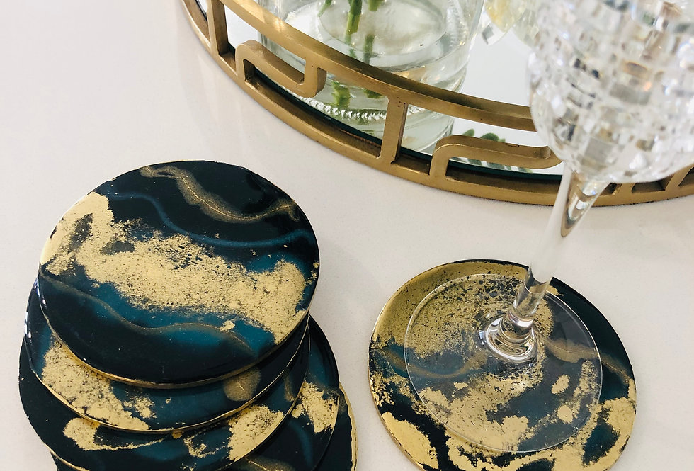 Black, Blue, Gold Resin Coasters