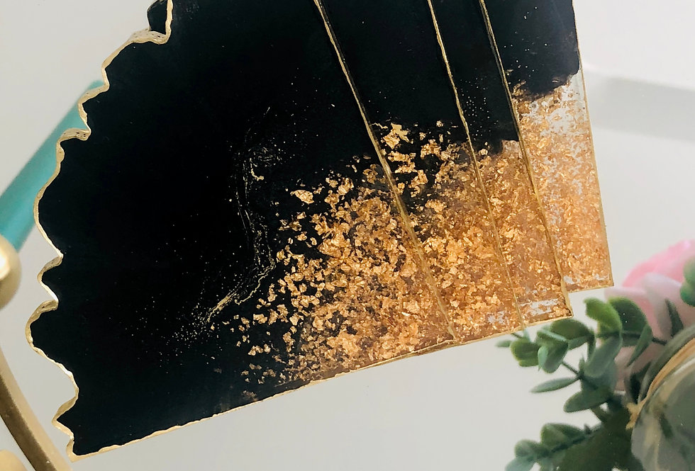 Black Gold Leaf Resin Coaster