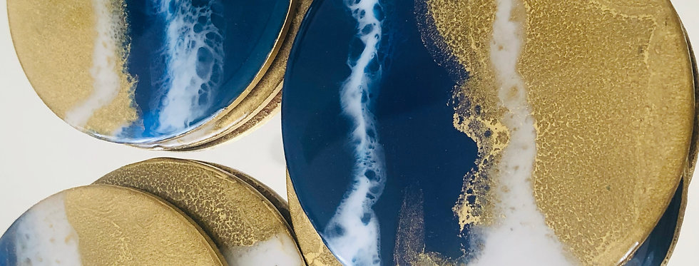 Blue and Gold Ocean Inspired Resin Coasters