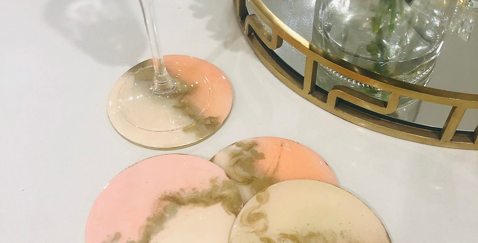 Peach & Gold Resin Coasters