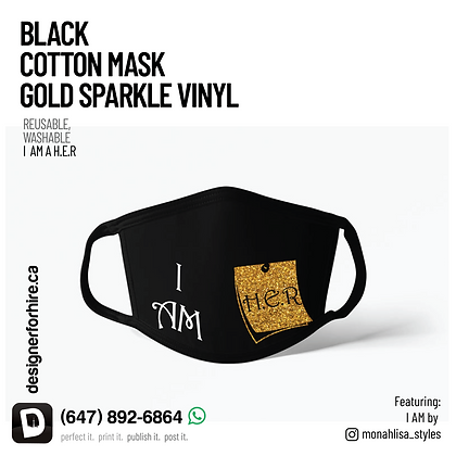 Black Mask with Gold Vinyl
