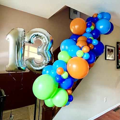 6 foot garland 2 helium numbers