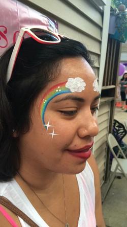 rainbow cheek art
