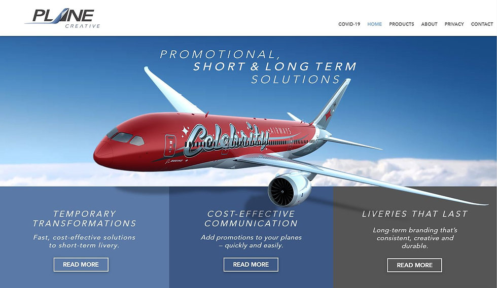 Plane Creative approached us to create their site which specialises in supply and application of bespoke aircraft graphics.
