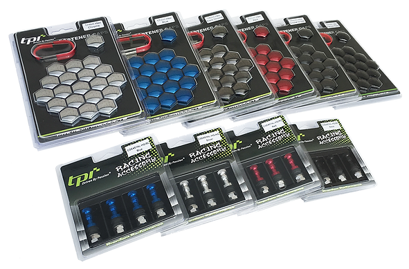 TPi wheel nuts covers and valves in a range of colours