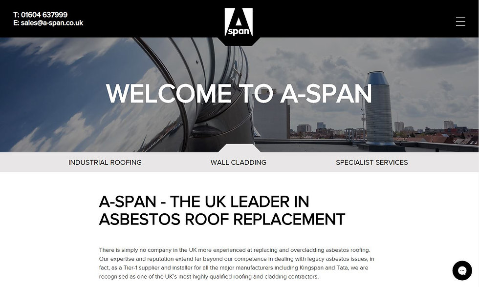 Website design and build for UK's premier roofing company and asbestos removal specialists A-Span.