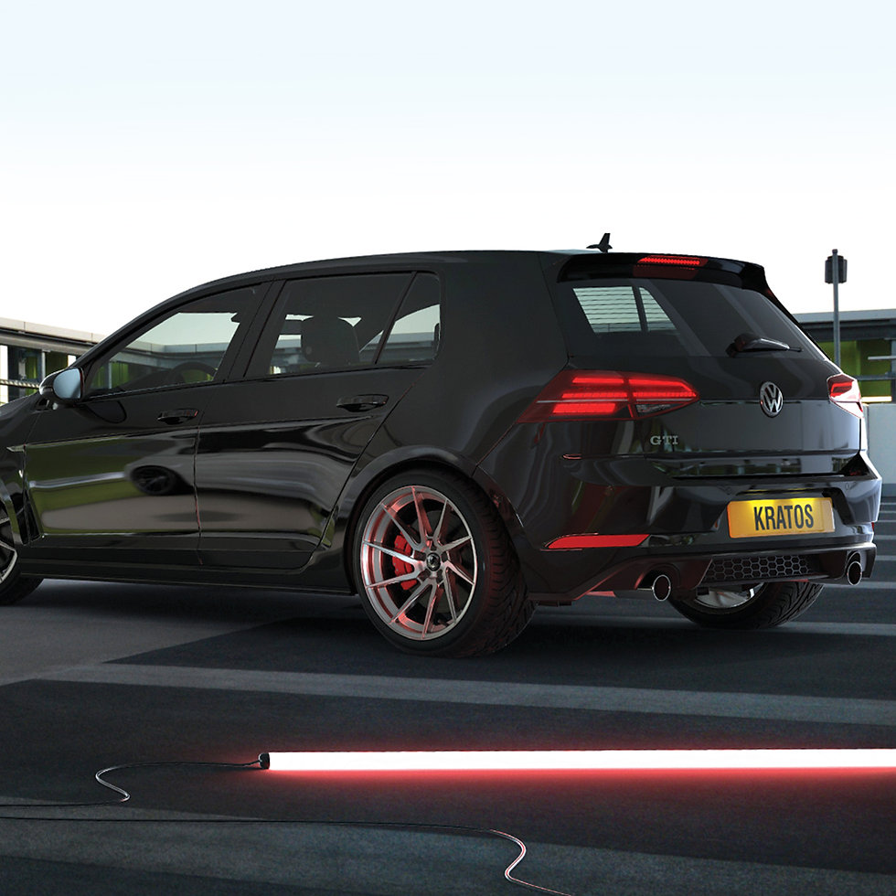 3D modelling of Client's 'Kratos' alloy wheel on VW Golf in photo realistic view.