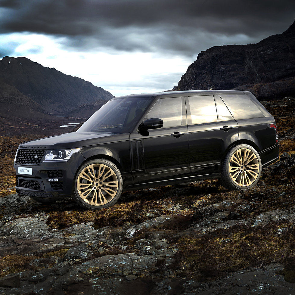 Client's 'Halcyon' alloy wheel rendered in 3D on Range Rover Vogue model.