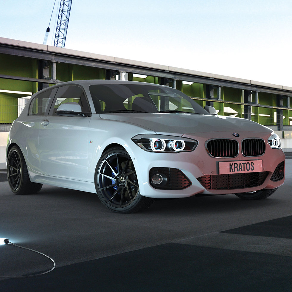 3D modelling of our Client's 'Kratos' alloy wheel on BMW in photo realistic view.