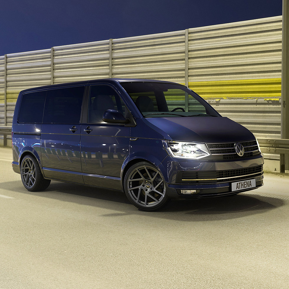 3D modelling of our Client's 'Athena' alloy wheel on VW Transporter van in photo realistic view.