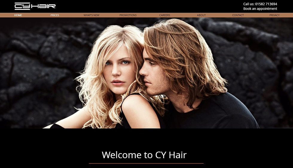 CY Hair's website promoting their speciality hair styling and products.