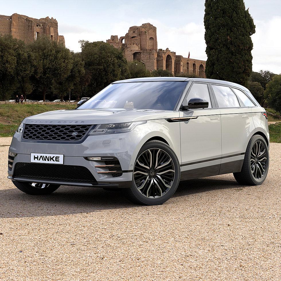Client's 'Vega' alloy wheel rendered in 3D on Range Rover Velar model.
