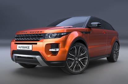 Orange Range Rover Evoque on HAWKE Vega wheels in Black Polished colour finish