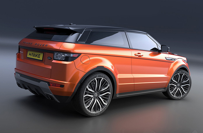 Orange Range Rover Evoque on HAWKE Vega wheels in Black Polished colour finish