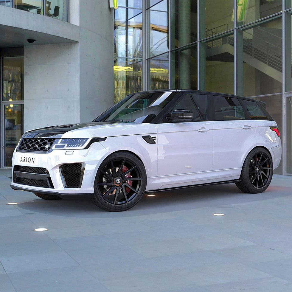 Client's 'Arion' alloy wheel rendered in 3D on Range Rover Sport model.