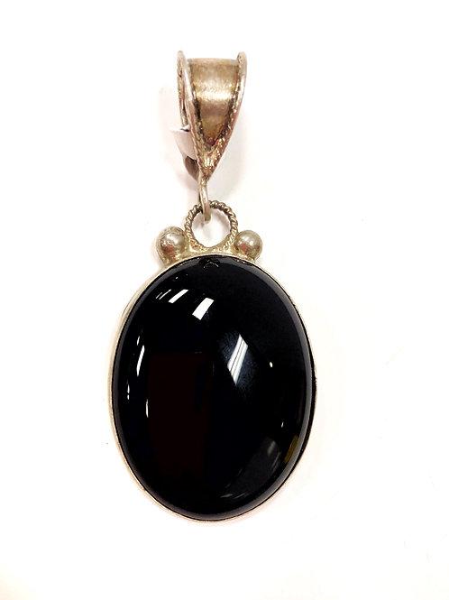 Black Onyx Silver Pendant