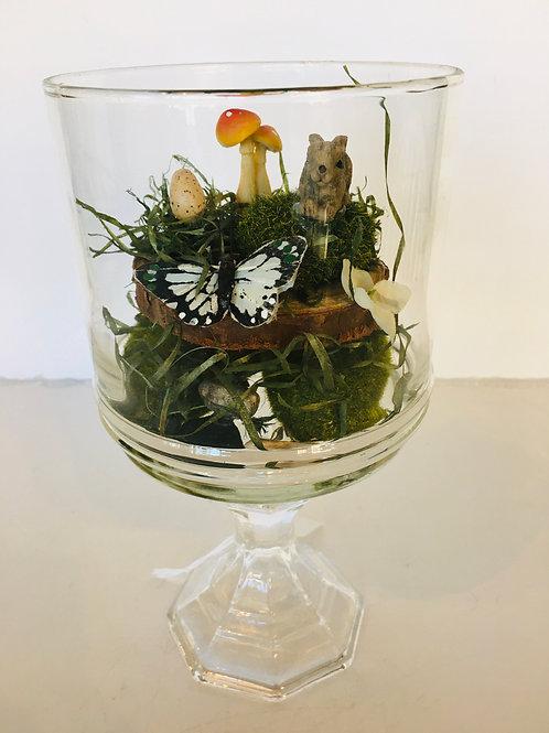 Glass jar with mouse mushroom