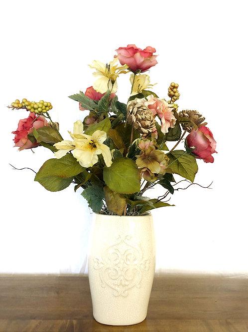 Dark Pink Flowers in a white vase