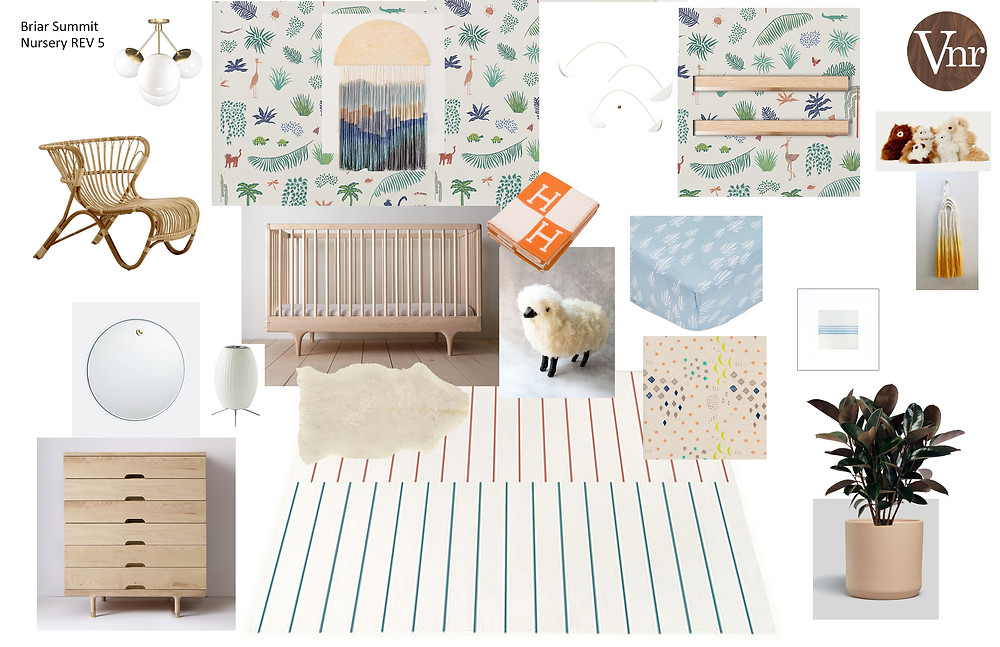 Sample nursery design board by Veneer Designs