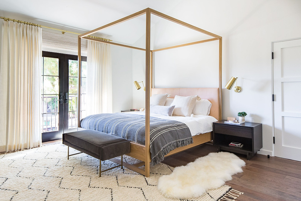 Custom wood canopy bed