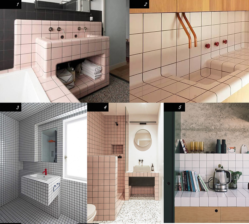 Photos of different tiled counter installations