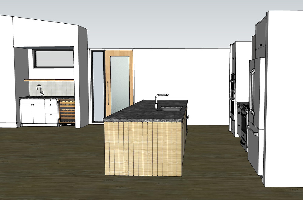 Another rendered view of the sample kitchen