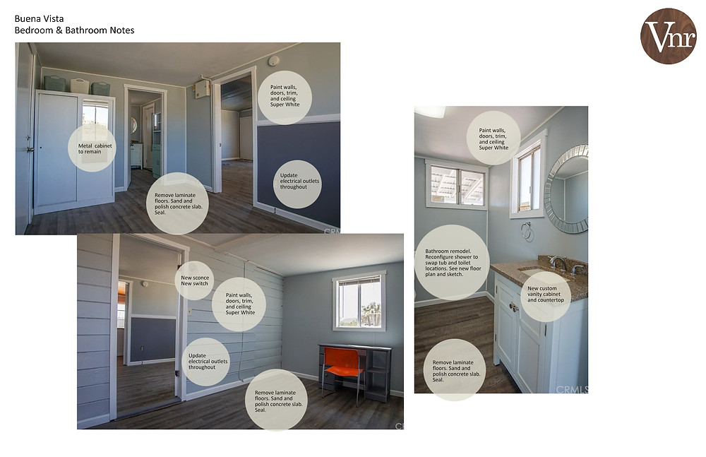 Additional interior scope of work outlined in graphics