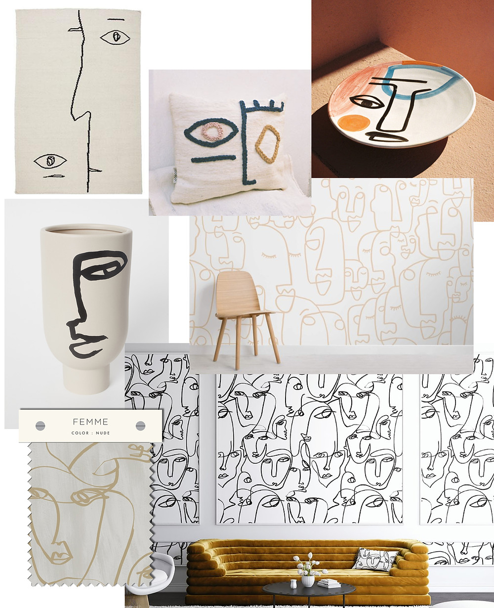 Line drawing themed home goods linked in the text