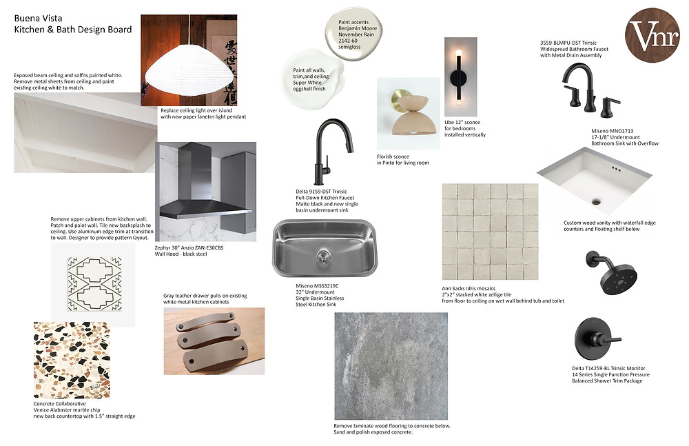 design board of selections for interior finishes and fixtures