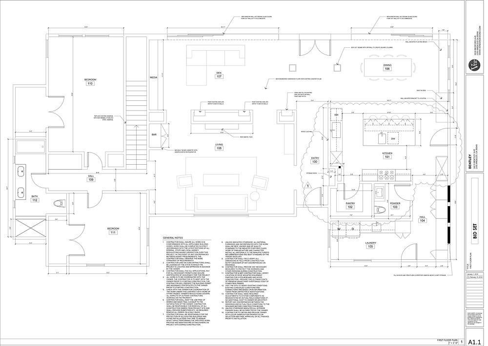 Sample construction drawing of a floor plan by Veneer Designs