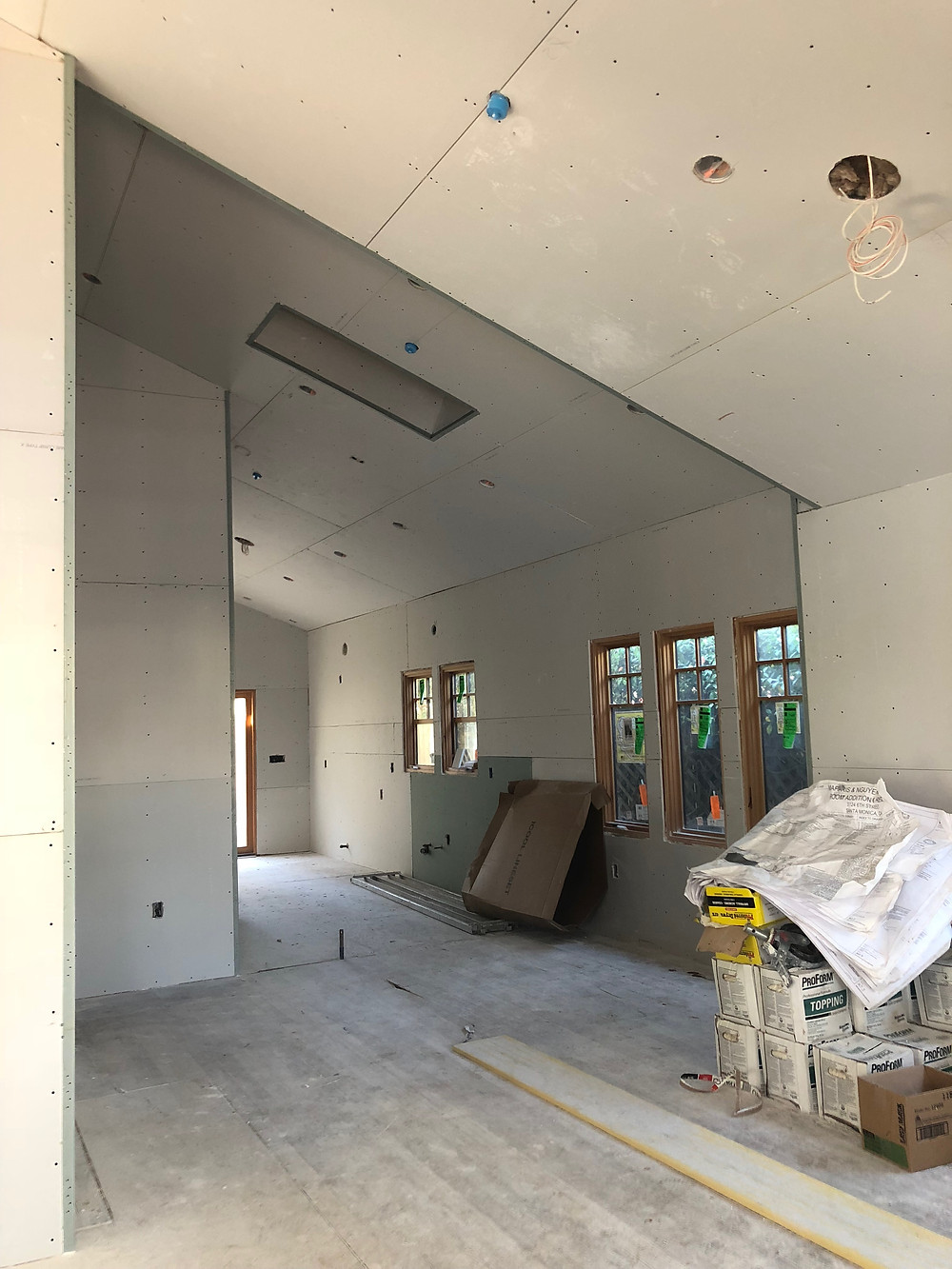 Photo of drywall at a site walk