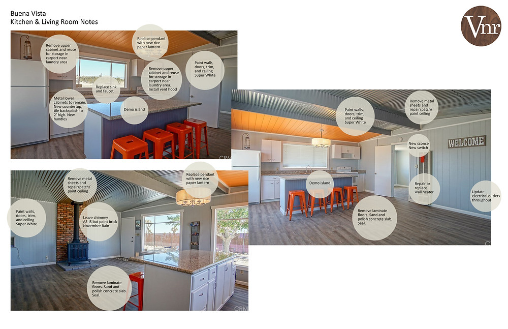 Interior scope of work outlined in graphics
