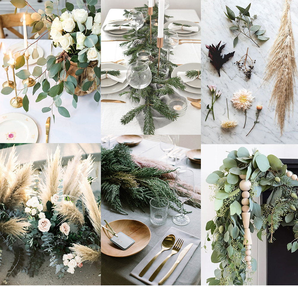 Collage of various wintry holiday tablescapes