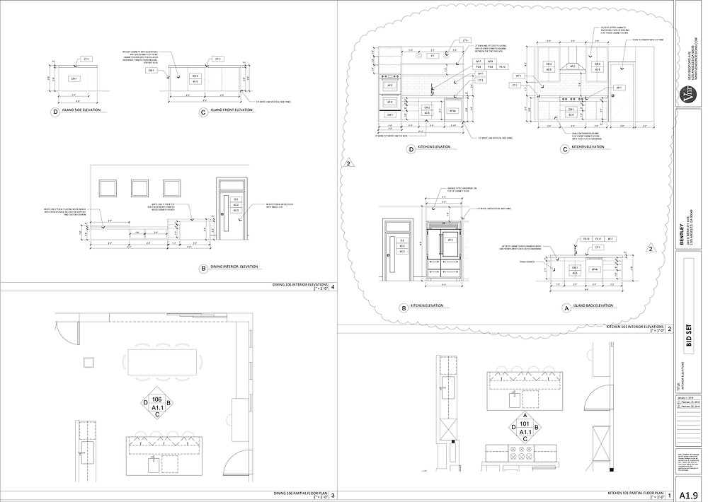 Sample construction drawing of interior elevations by Veneer Designs