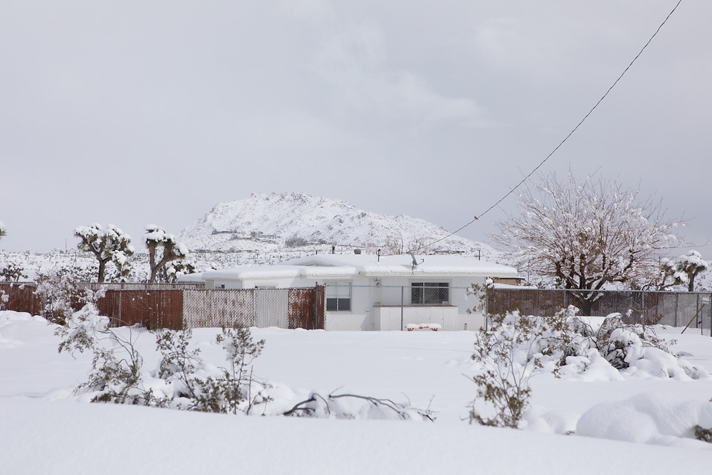 Our house in Yucca Valley in the snow