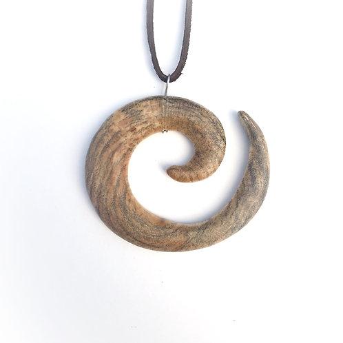 Unfolding - Spiral Wood Pendant