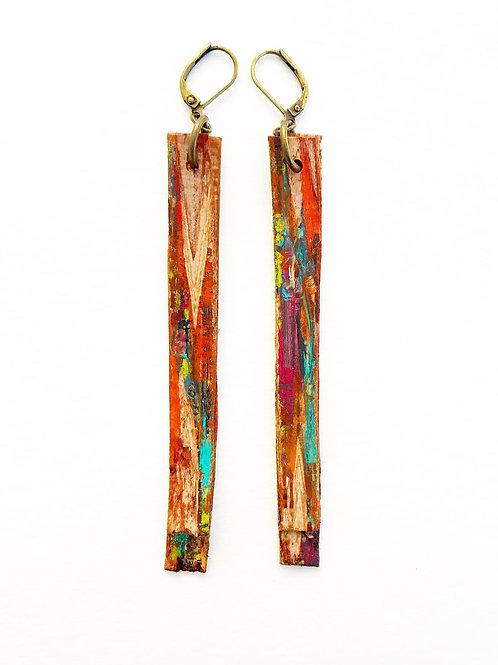 Painted Birch Bark Earrings