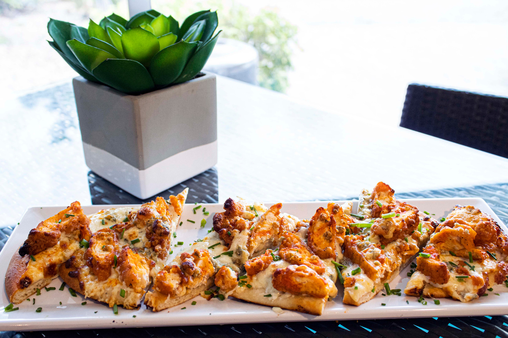 Buffalo Chicken and Blue Cheese Flatbread