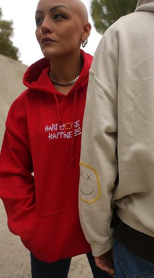 "HOODIE RED ""HARDCORE HAPPINESS"""