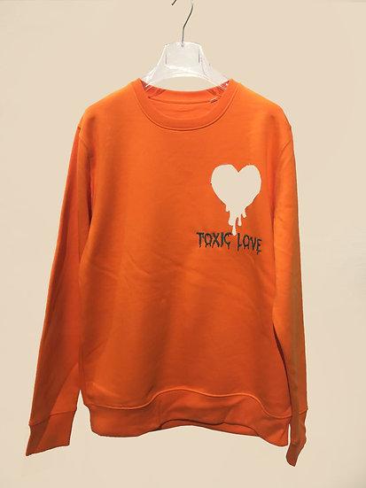 "Sweatshirt ""TOXIC LOVE"" orange"