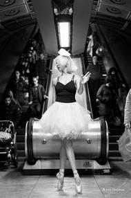 Reza Hadian photography PixRez street ballet in tube station in london underground with Siggy dance tutu