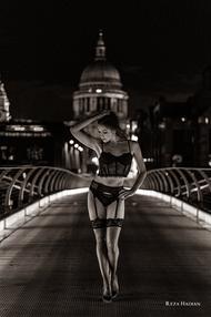 PixRez - Reza Hadian, London fashion & beauty photographer. An edgy and bold lingerie photoshoot on millennium bridge - St Paul's Cathedral