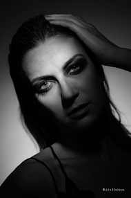 PixRez - Reza Hadian, London fashion & beauty photographer. Black exotic smokey makeup beauty shot in Reza's studio using Godox AD400 pro and Godox AD200pro