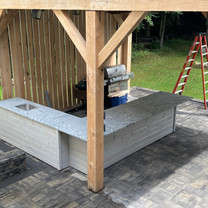 Outdoor Kitchen with Viscont White Leathered Granite